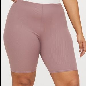 Pretty little thing dark mauve ribbed biker shorts